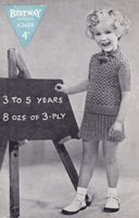 vintage little girls check jumper and pleated skirt knitting pattern bestway 1940s