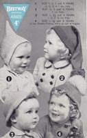 vintage knitting pattern for baby hats 1940s