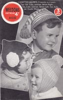 vintage weldon A1232 knitting pattern for baby hats
