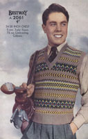 vintage mens fair isle tank top knitting pattern 1940s